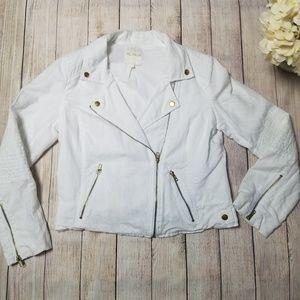 White Linen Blend Moto Jacket w Gold Hardware